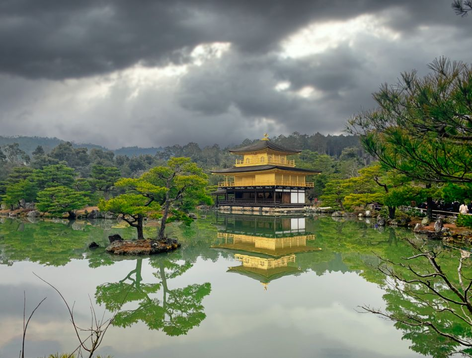 View of the Golden Pavilion across Kyoko-Ike Pond in Kinkaku-ji